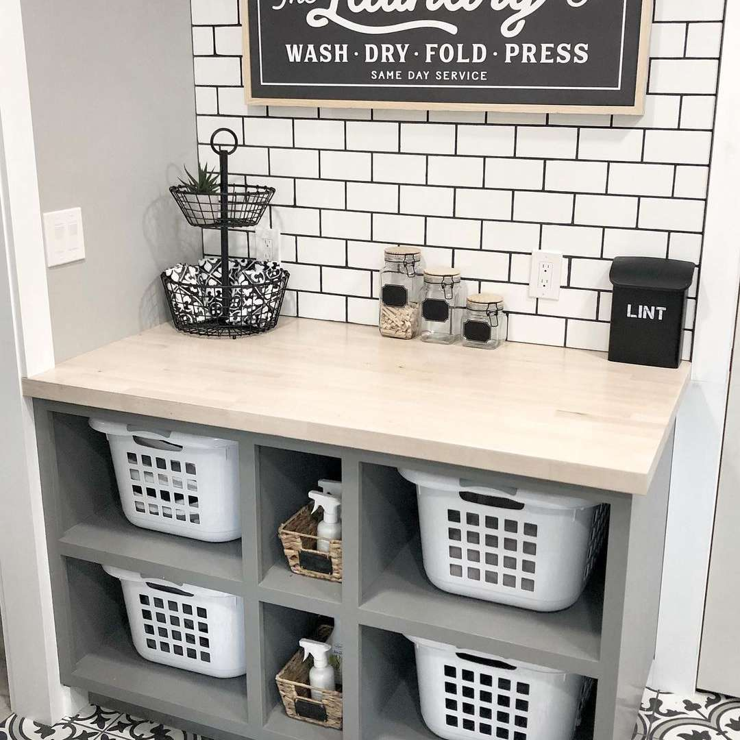 Laundry room with shelves and baskets