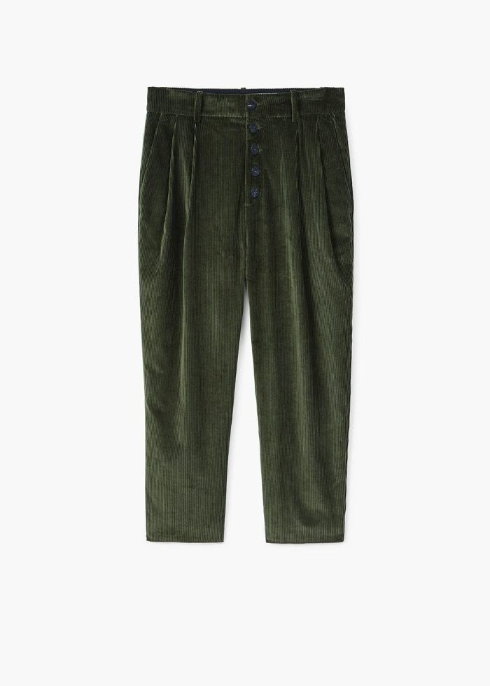Mango Pleated corduroy trousers