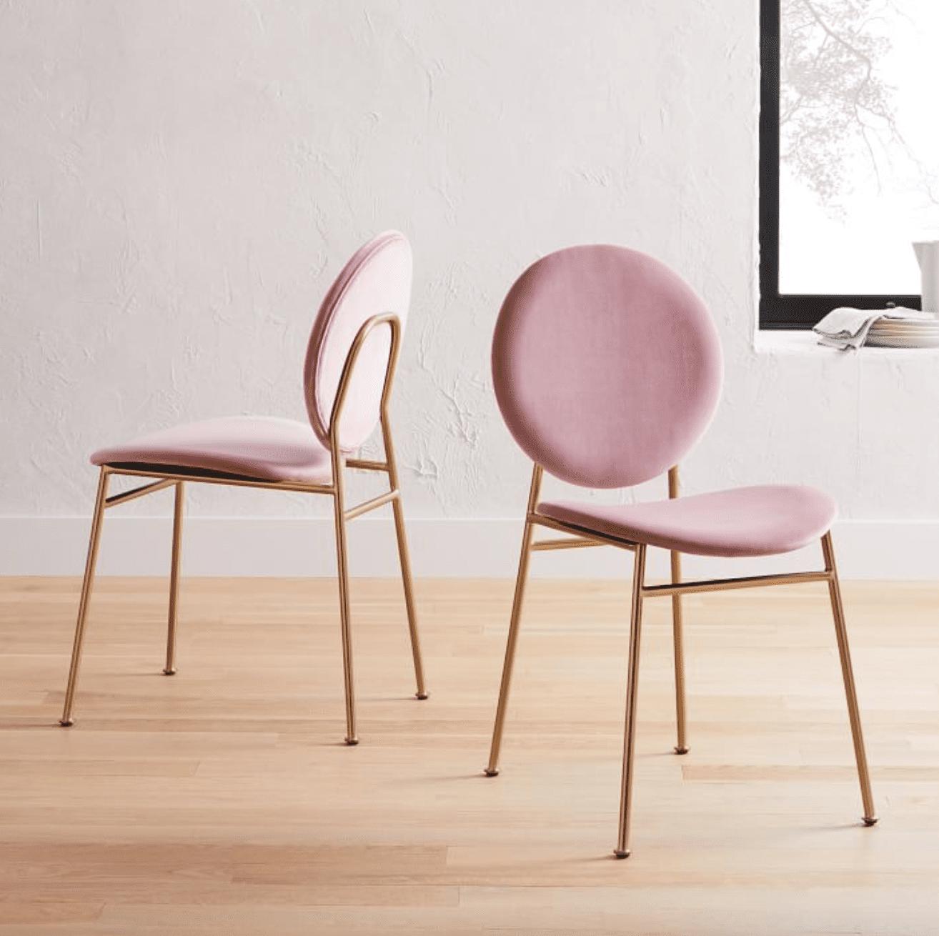 Ingrid Dining Chair, Distressed Velvet, Light Pink, Antique Bronze