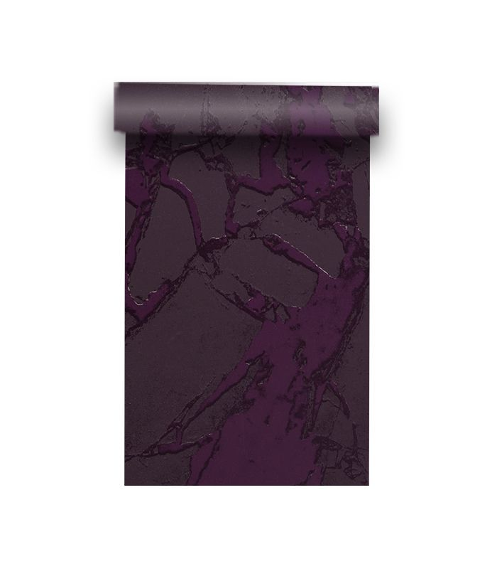 Purple marbled wallpaper unrolled from the roll.