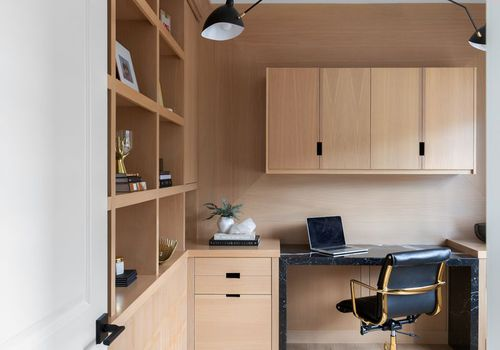 wood paneling office