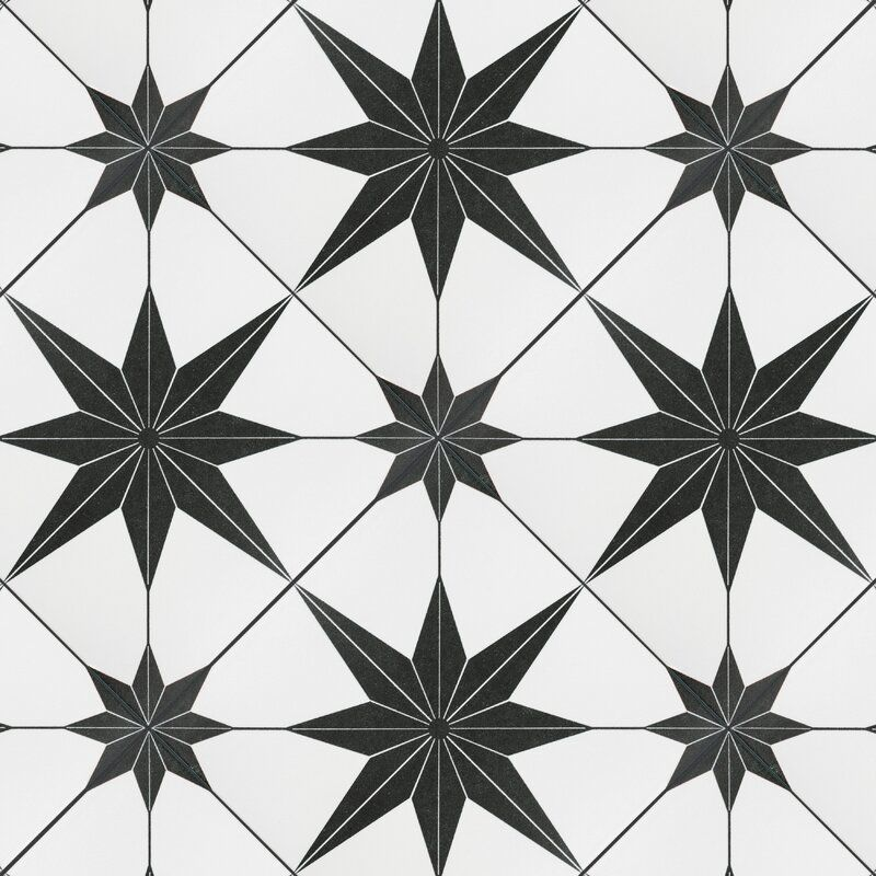 A set of bold black-and-white star-patterned tiles, which are currently for sale at AllModern