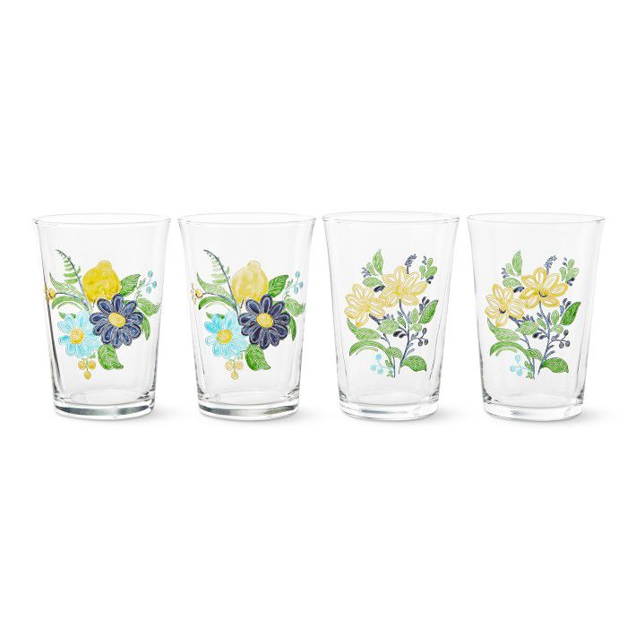 Aerin Lauder for Williams Sonoma Floral Tumblers, Set of 4