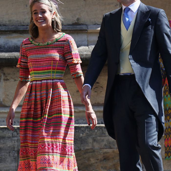 1114f240a44 Meghan and Harry s Royal Wedding guests outfits  Cressida Bonas in a neon  striped dress