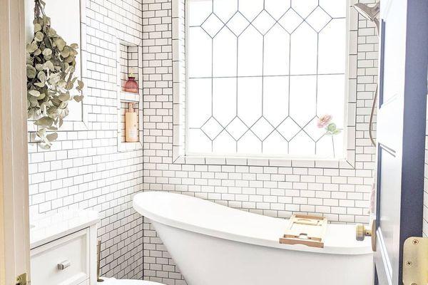 Bright all white bathroom