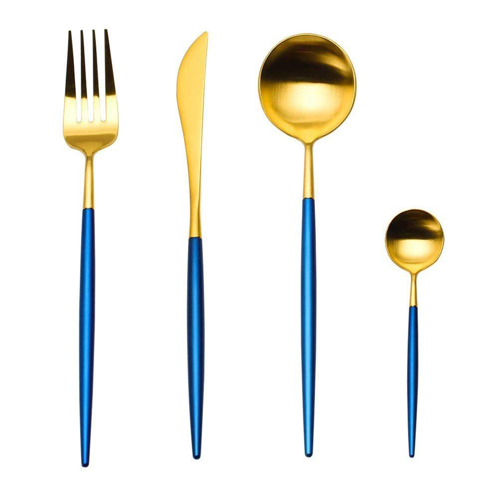 Apriling 4-Piece Stainless Steel Flatware Set in Blue and Gold