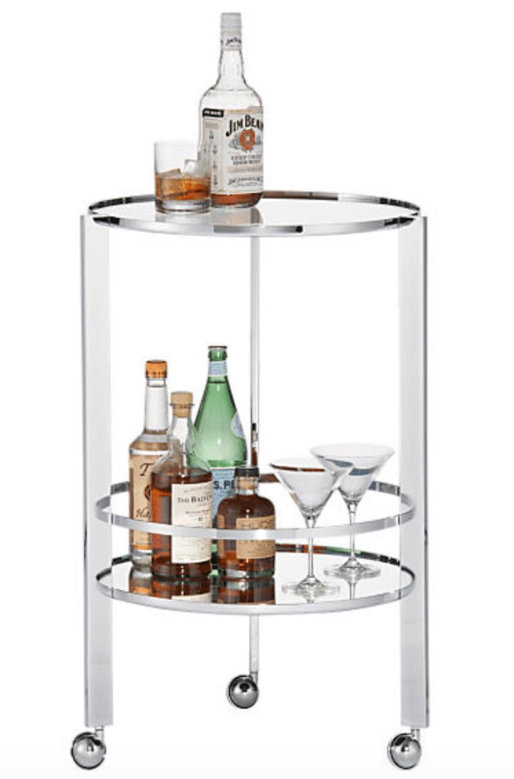 silver circular bar cart