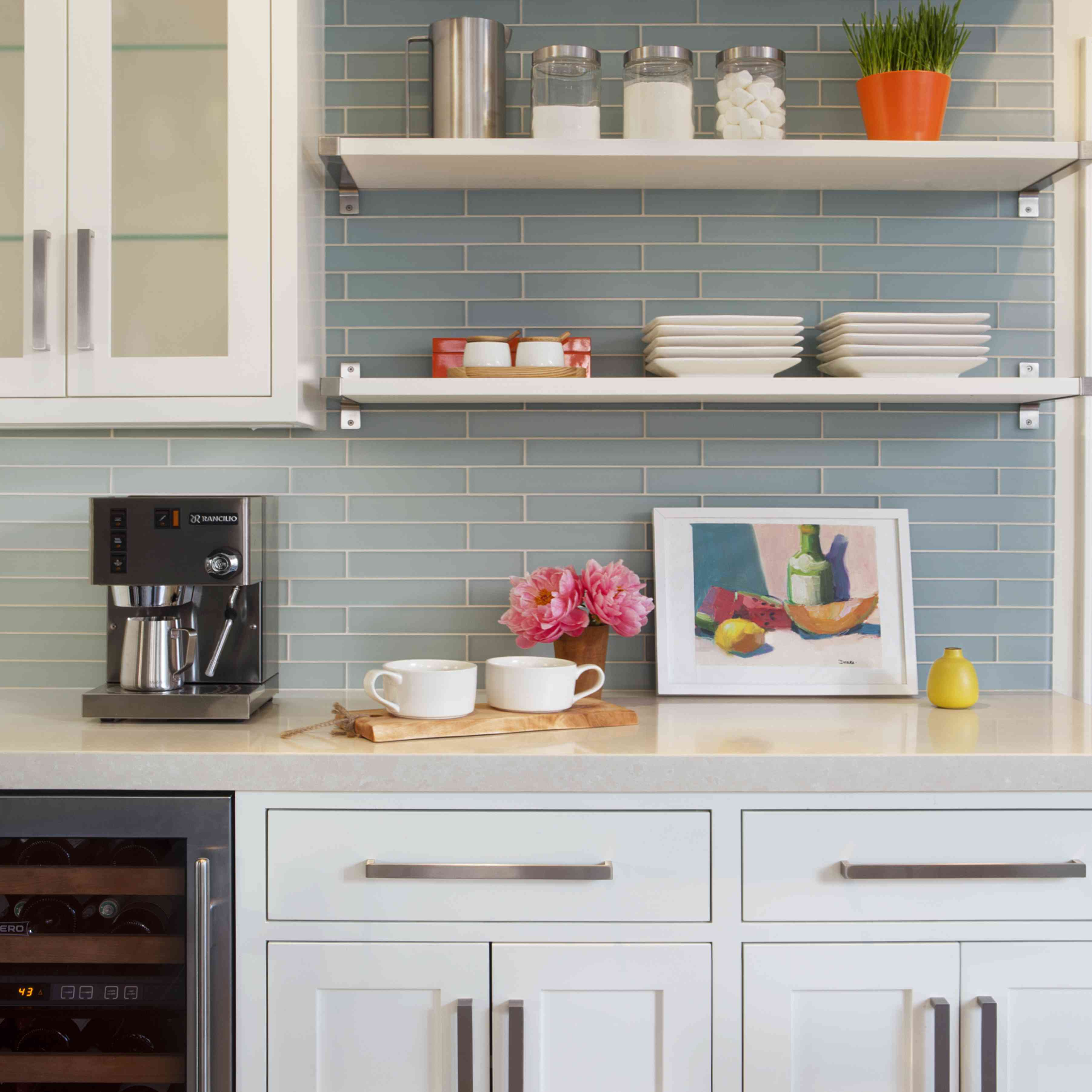 makeover of the week - mansfield + o'neil kitchen makeover after with blue subway tile