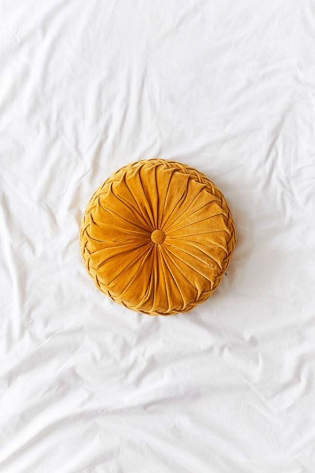 Round Pintuck Pillow in Mustard