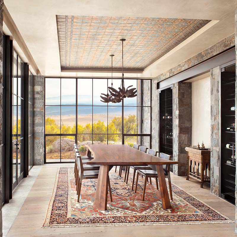 Dining room with designed coffered ceiling