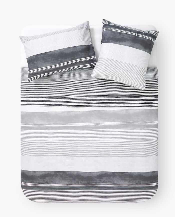 Zara Home Grey Stripe Print Duvet Cover