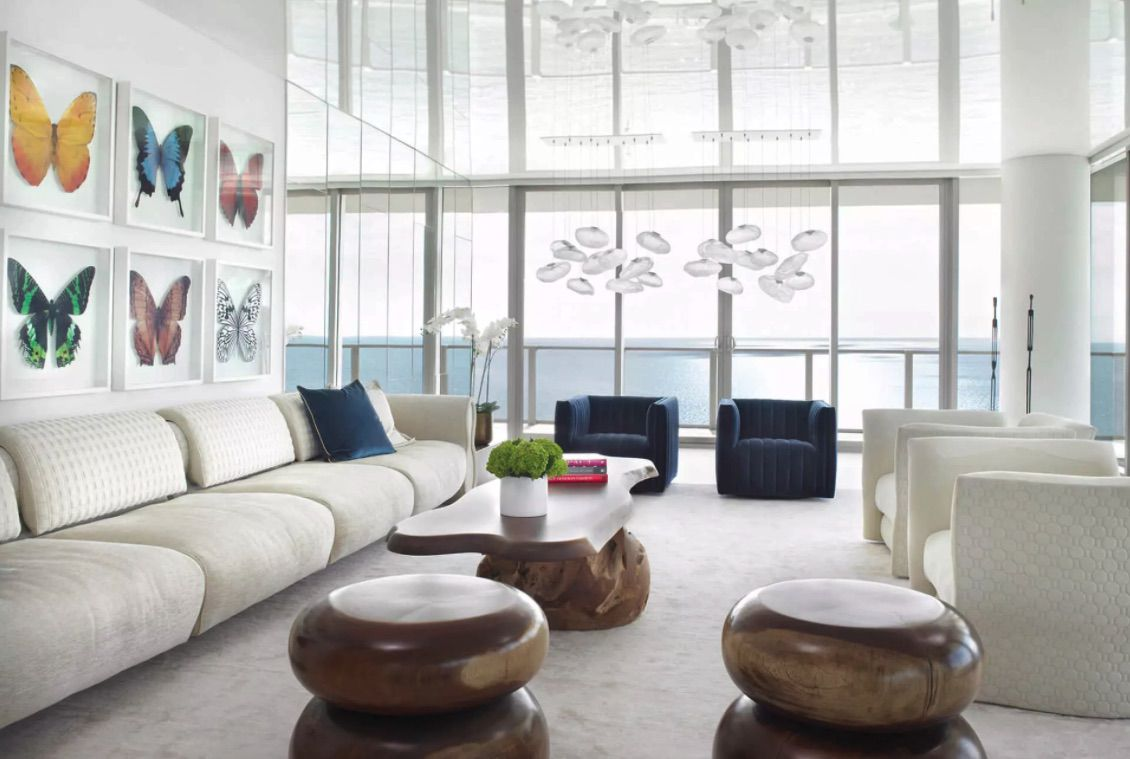 statement white couch living room
