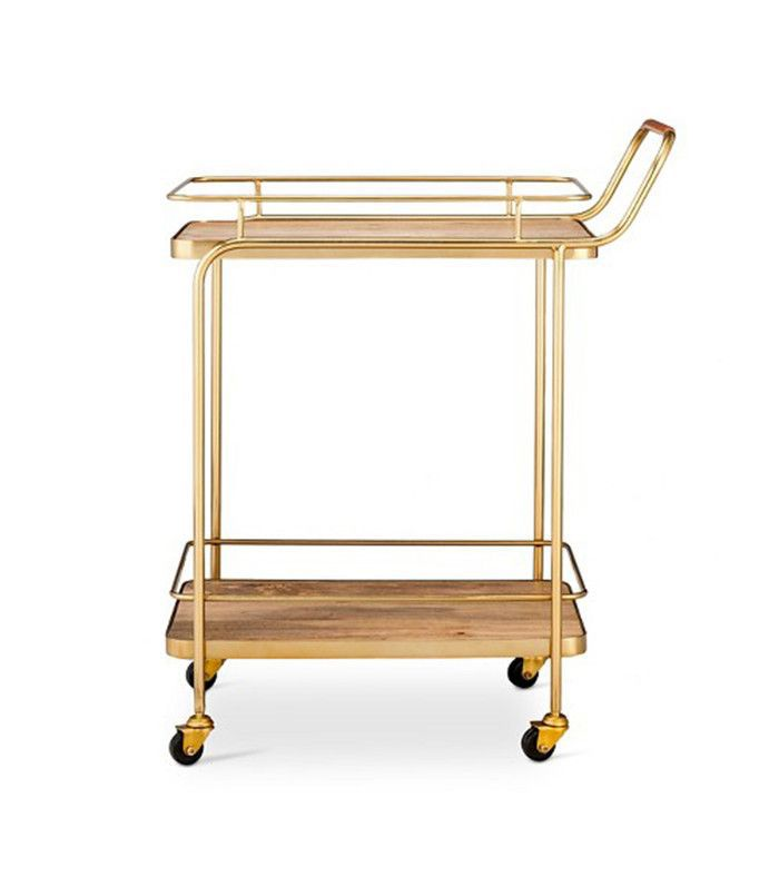 Threshold Metal, Wood, and Leather Bar Cart