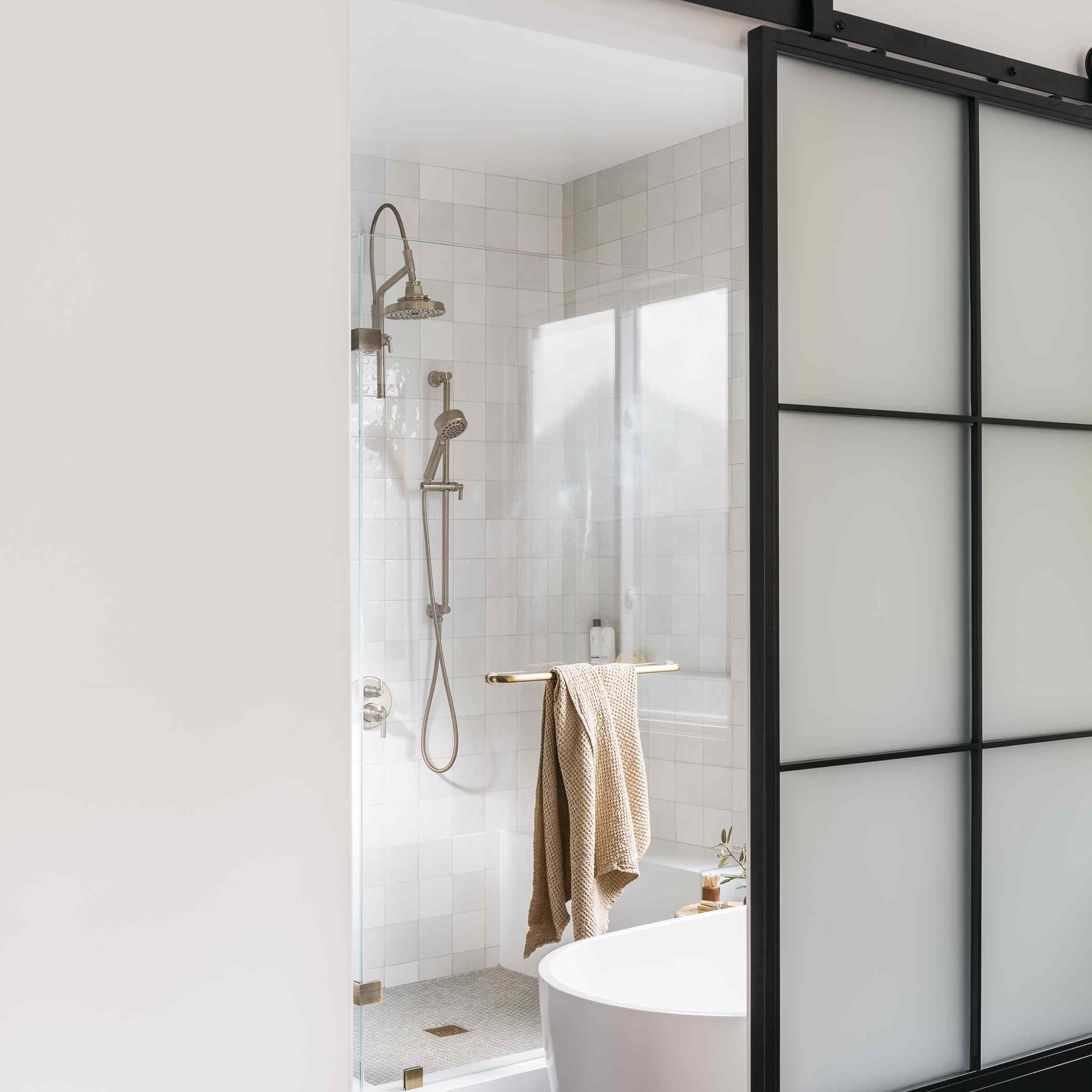 Brett Foken home tour - bathroom with soaking tub and shower