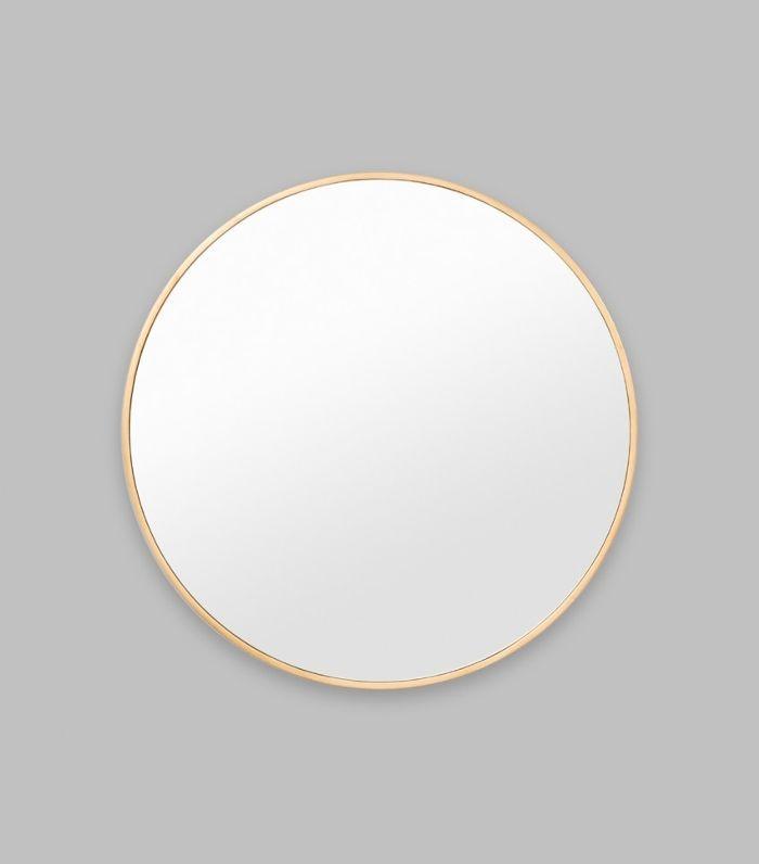 Print Decor Modern Round Brass Mirror