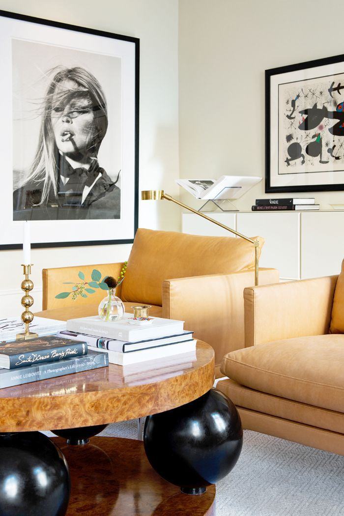 Eclectic living room with sculptural coffee table