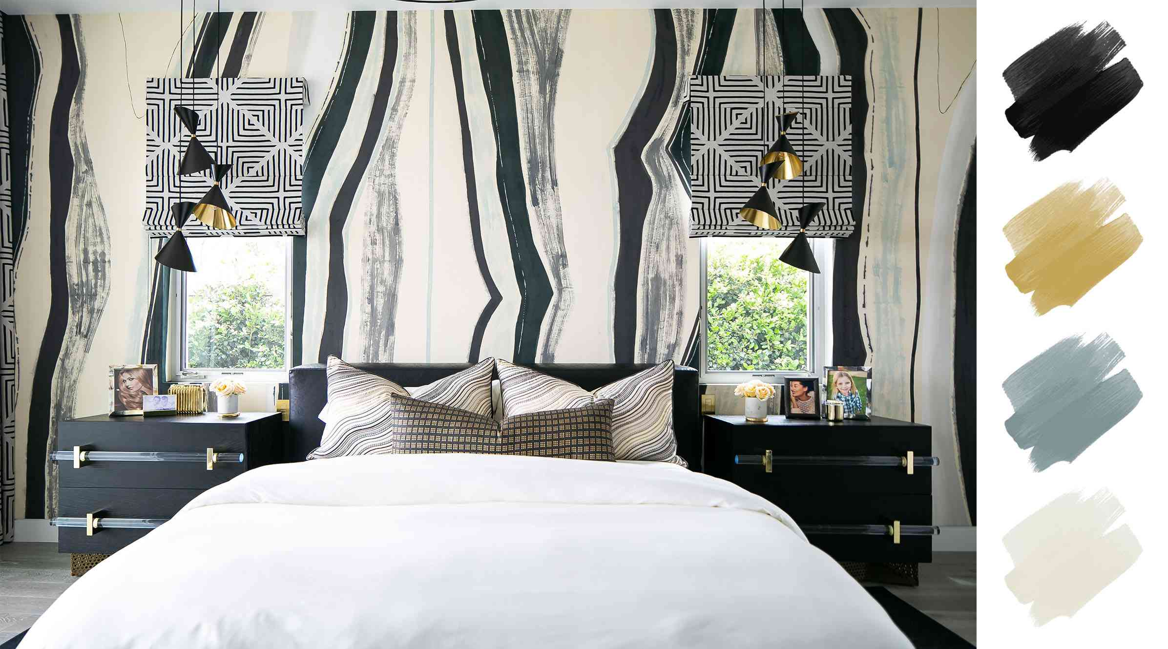 bedroom color schemes - black and white and brass