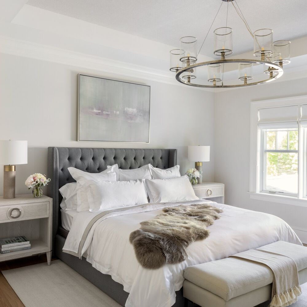 Bed with gray headboard
