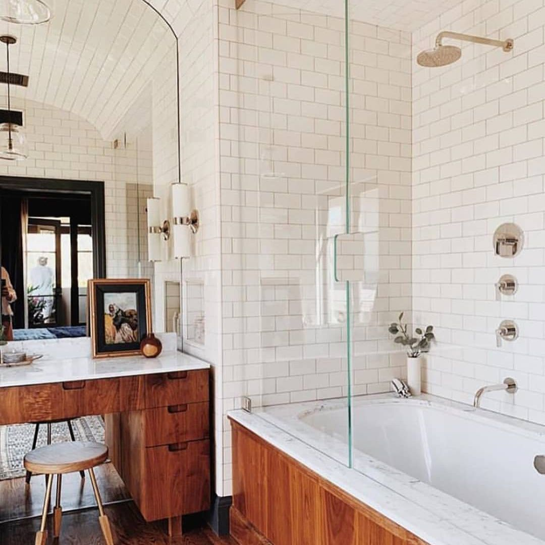 Wood around bathtub