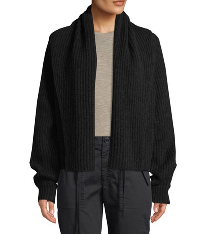 Vince Oversized Shawl-Collar Wool Cardigan Maternity Capsule Wardrobe
