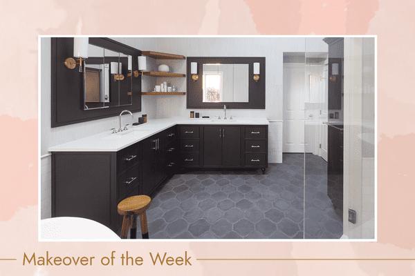 Sleek bathroom with large double vanity and tile floor.