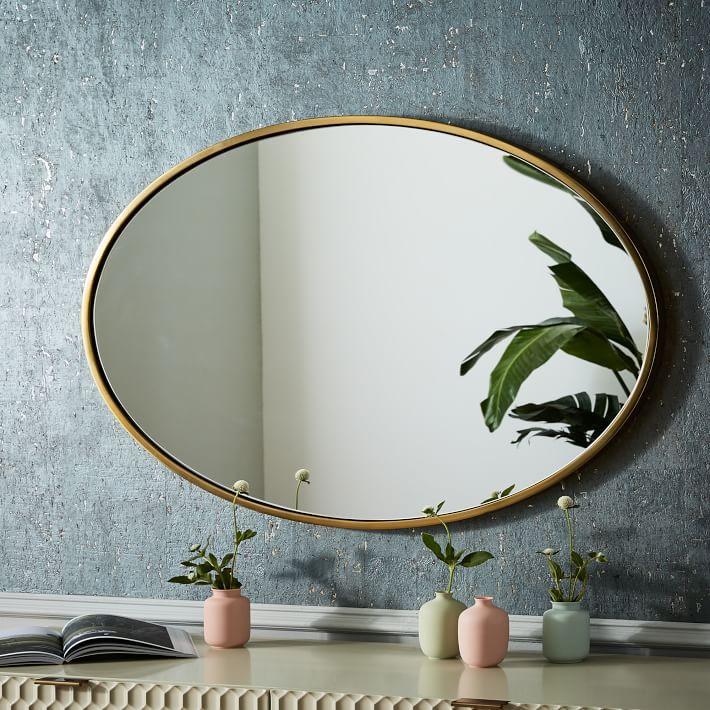 West Elm Antique Brass Metal Framed Mirror