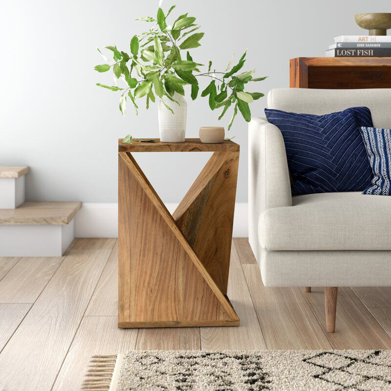 Abstract wood side table