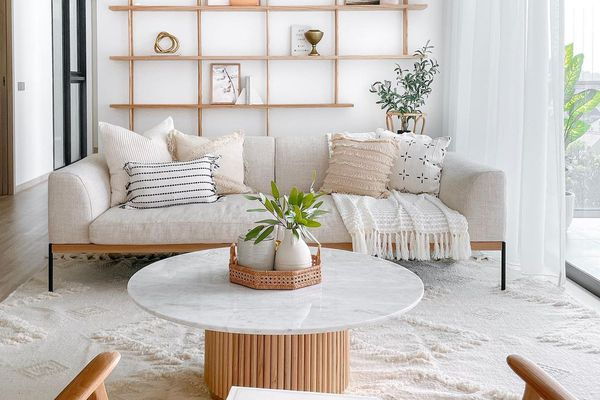 Living room with built in storage