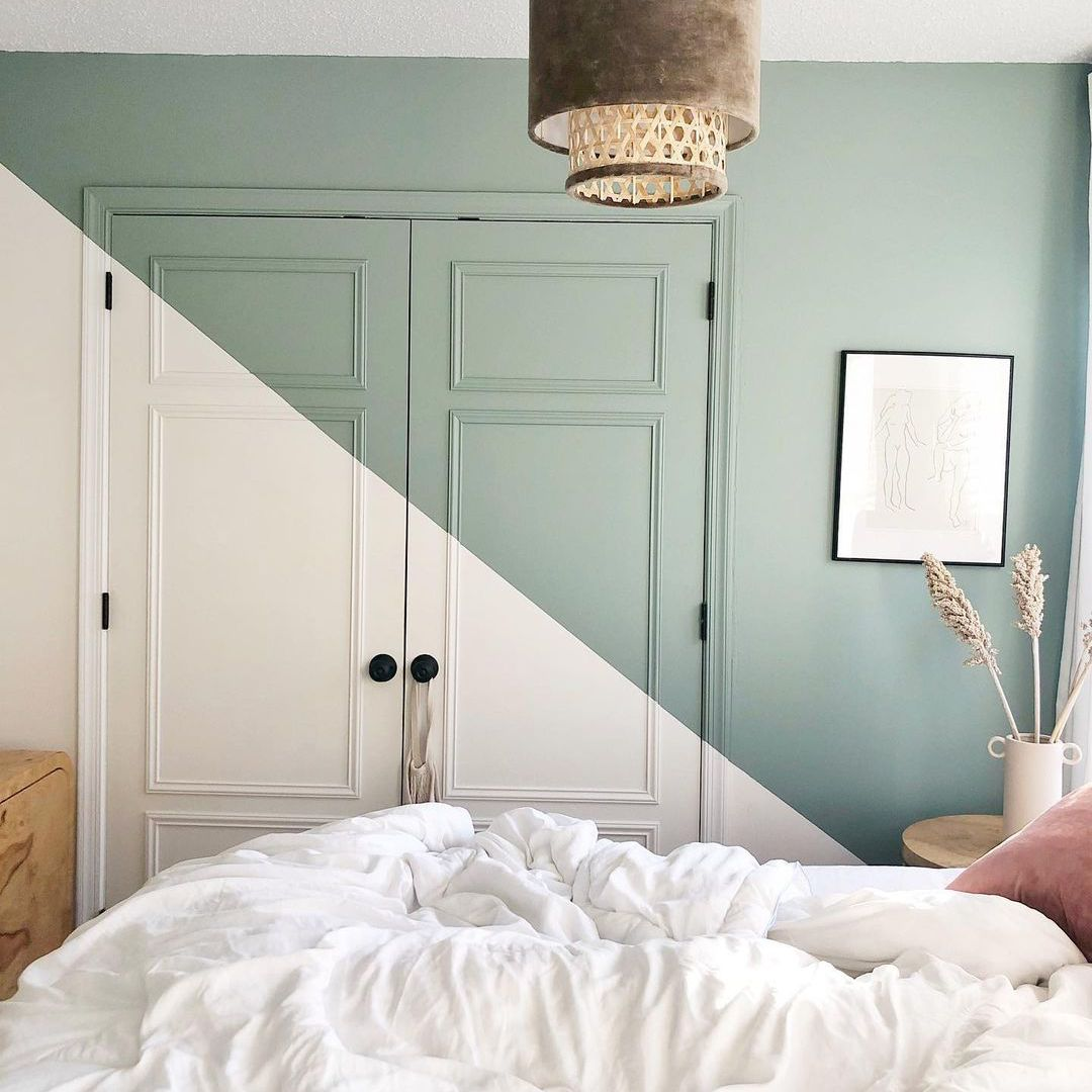 White and green accent wall.