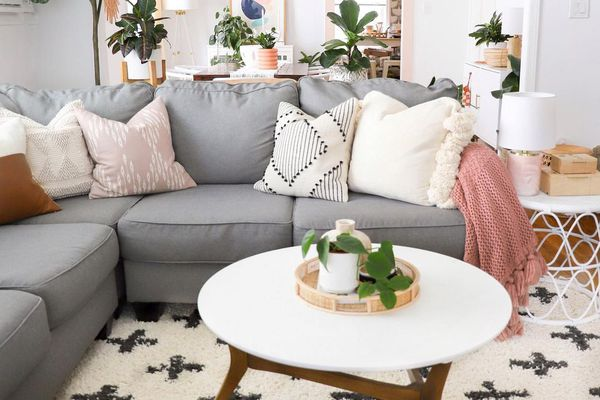 Living room with gray couch and lots of plants.