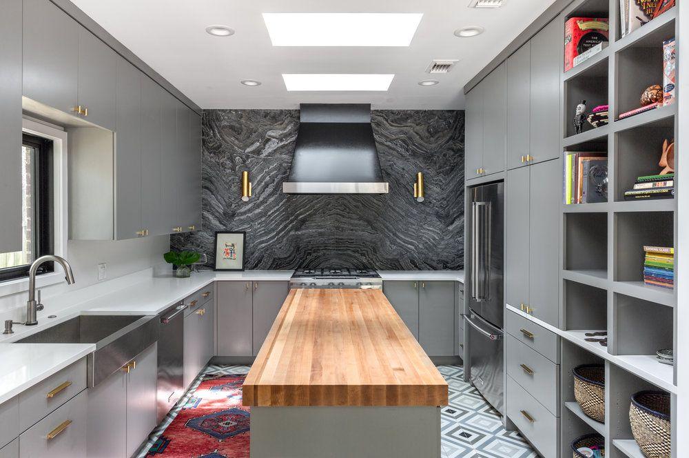 red kitchen rug in gray kitchen