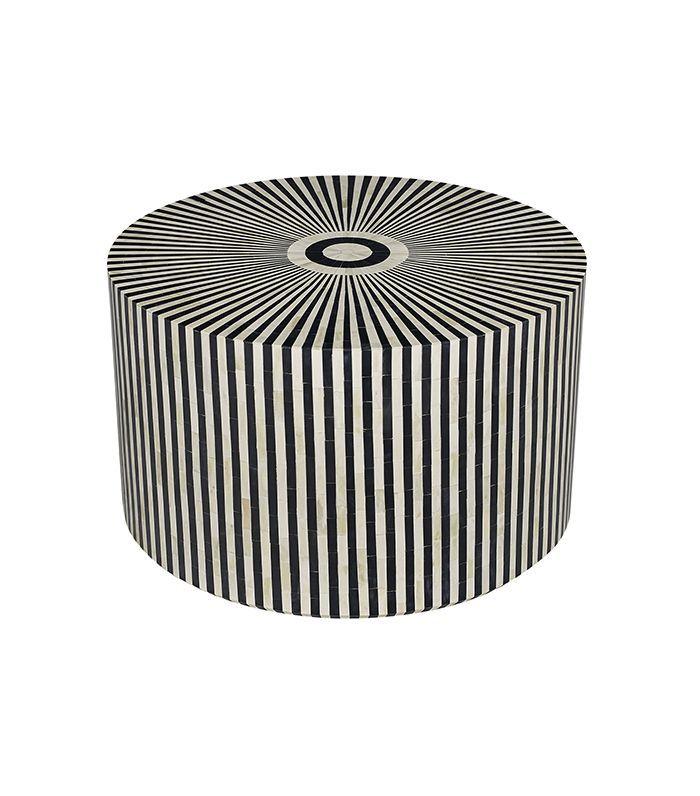 HD Buttercup Black Bone Inlay Round Coffee Table