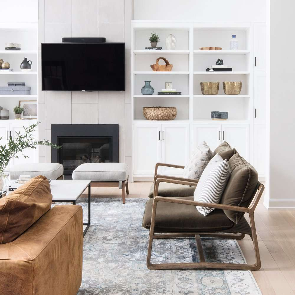 living room with a mounted television