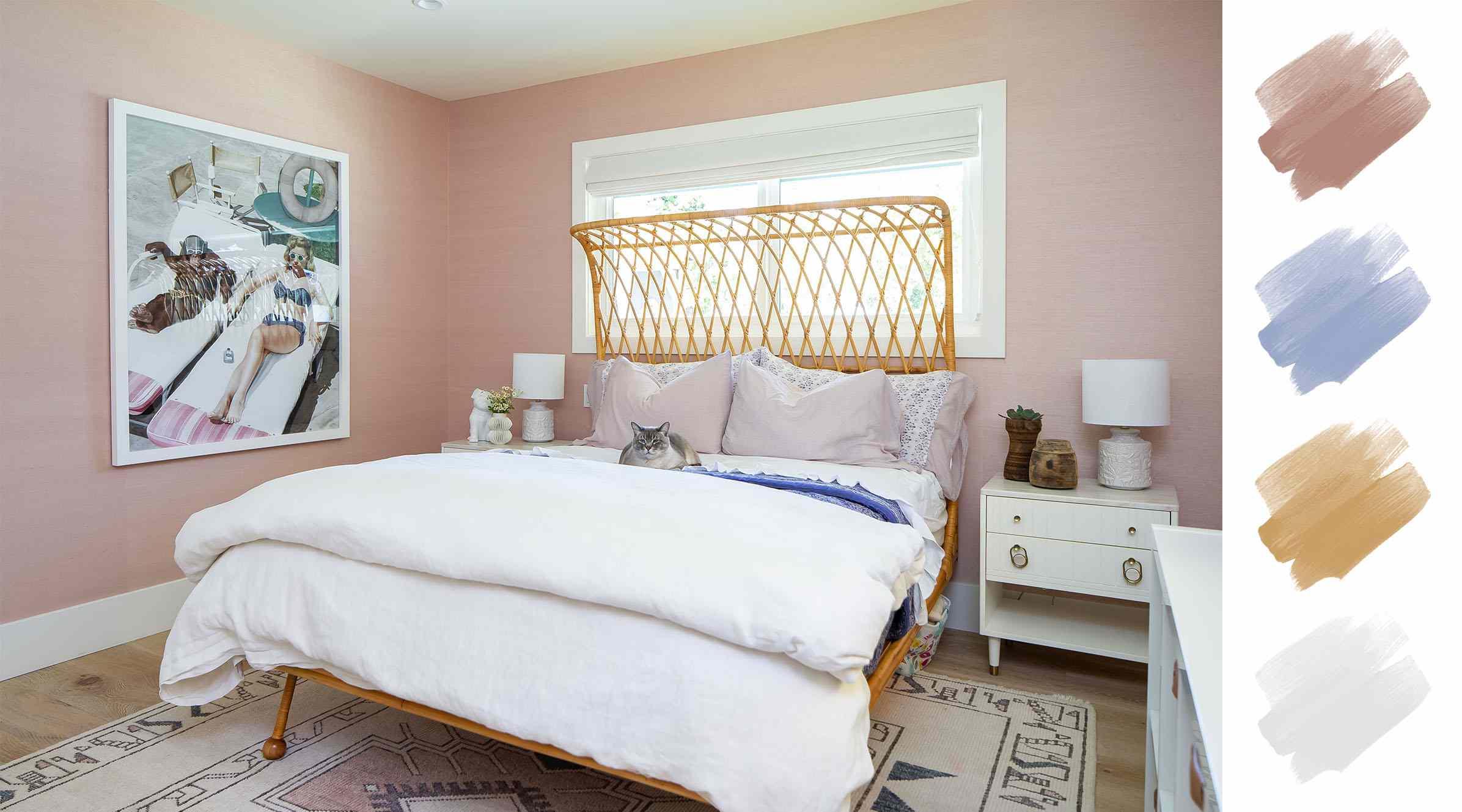 bedroom color schemes - pink + blue + white + wood