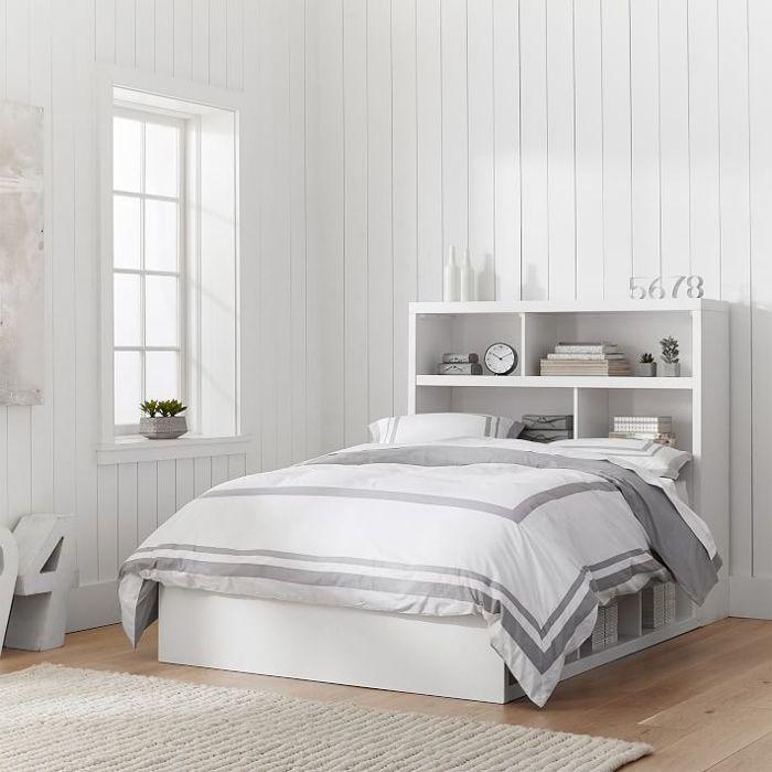 PB Teen Store-It 6 Cubby Bed + Sotrage Headboard Set