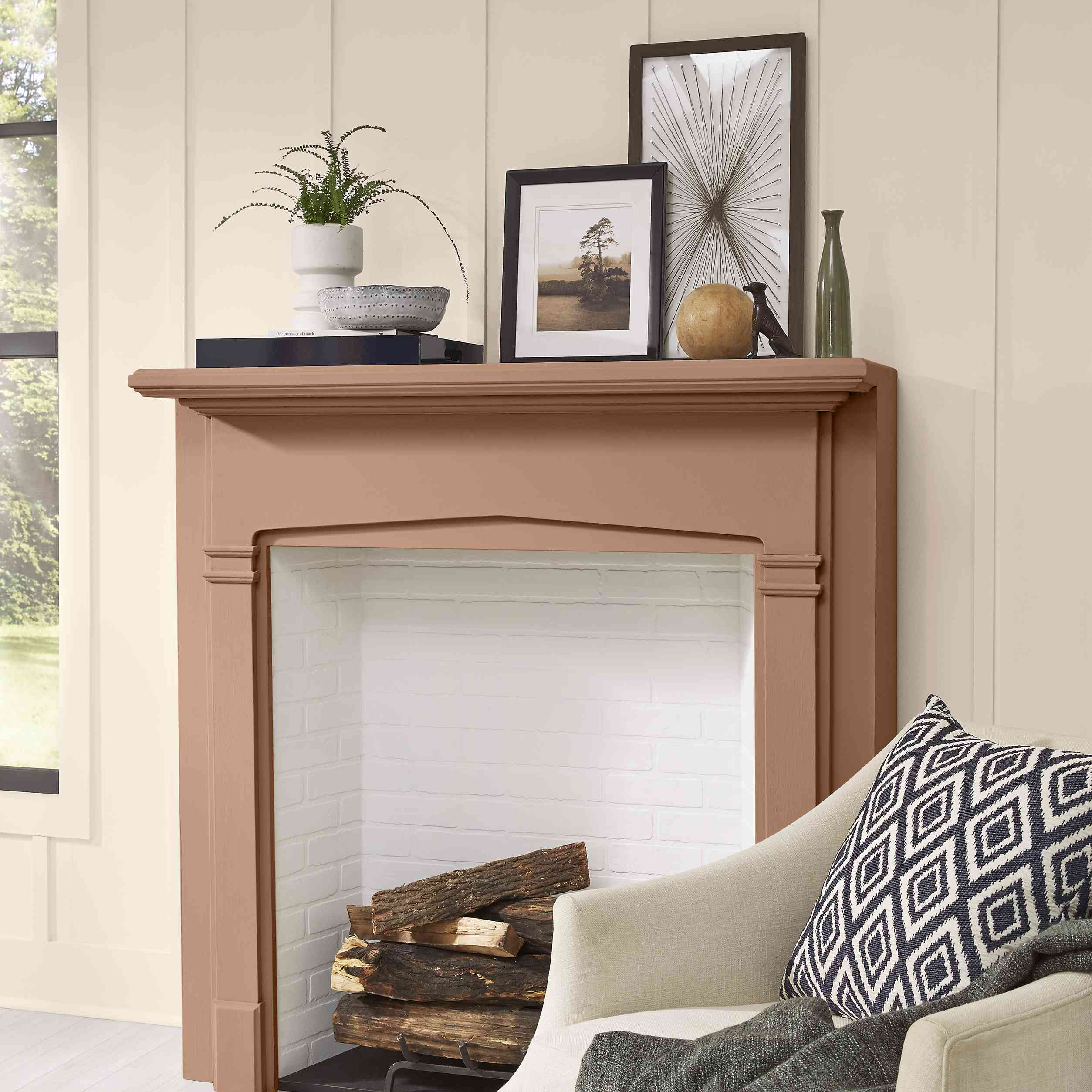 Fireplace mantel painted Canyon Dusk.