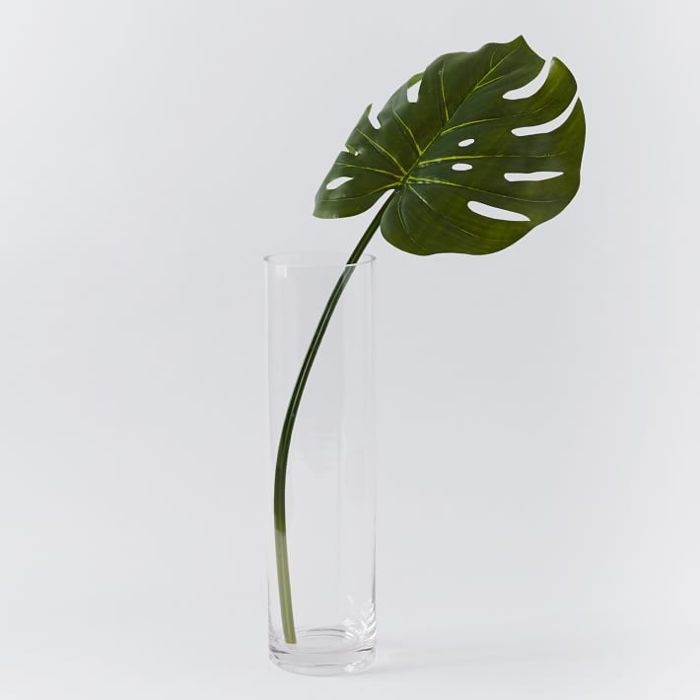 A single artificial Monstera Leaf inside a tall glass vase.