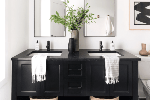 how to style a black bathroom - black vanity in modern bathroom