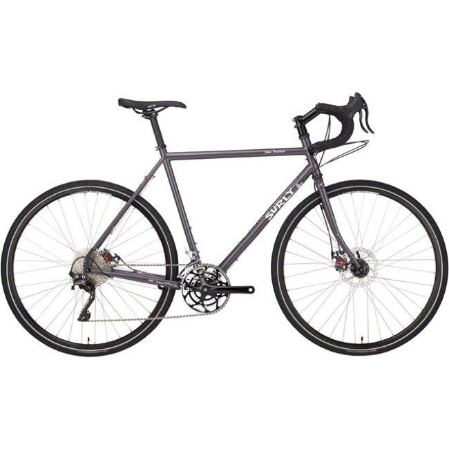 A gray 10-speed bike.