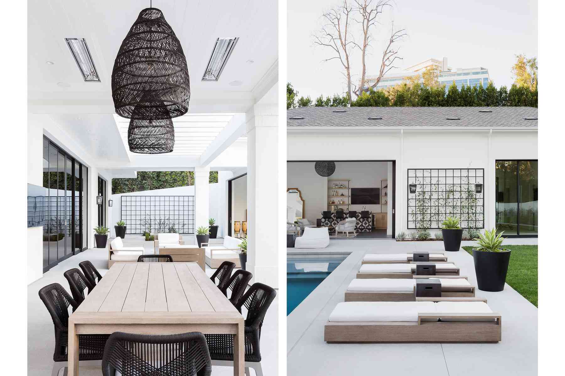 Outdoor space with dining table and metal wall art.
