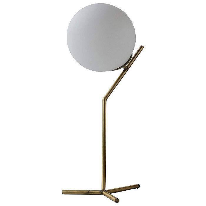 Rivet Glass Ball and Ang Metal Table Lamp