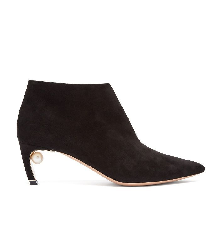 Mira pearl-heeled suede ankle boots