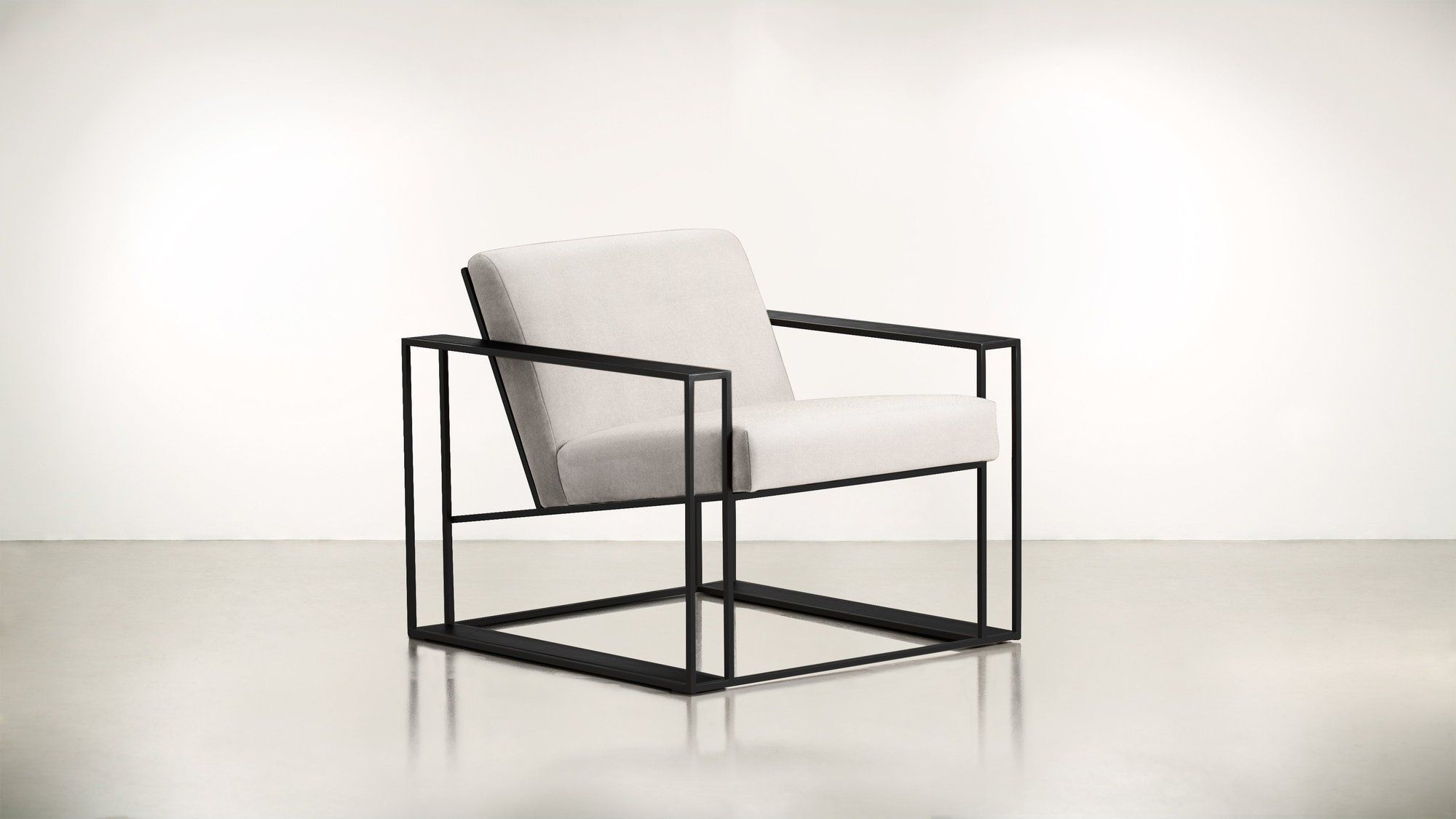 white chair with black base