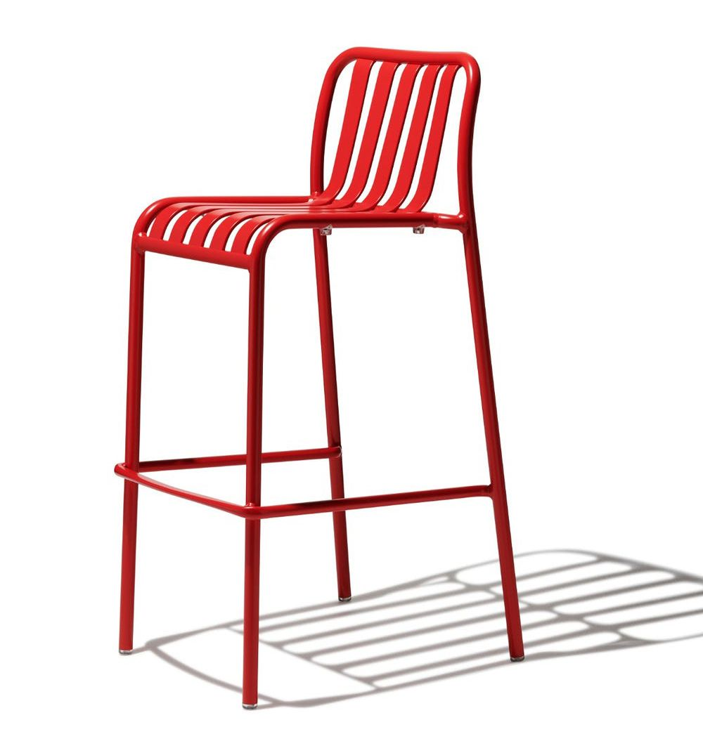 A red barstool from Industry West