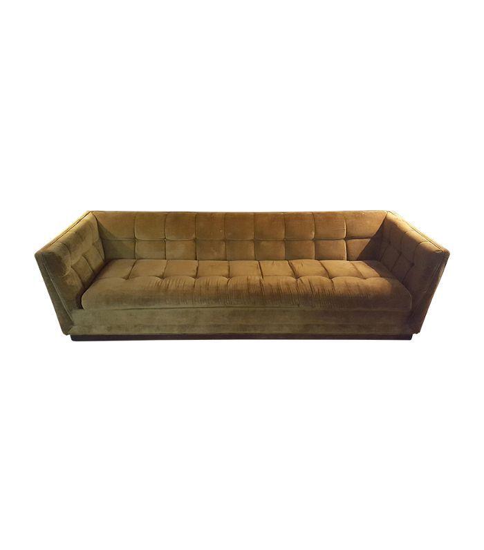 Chairish Mid-Century Modern Citron Yellow Velvet Tufted Sofa