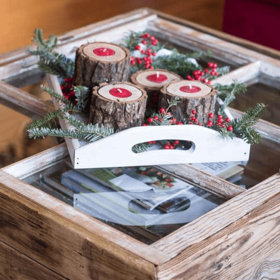 DIY window coffee table topped with holiday décor
