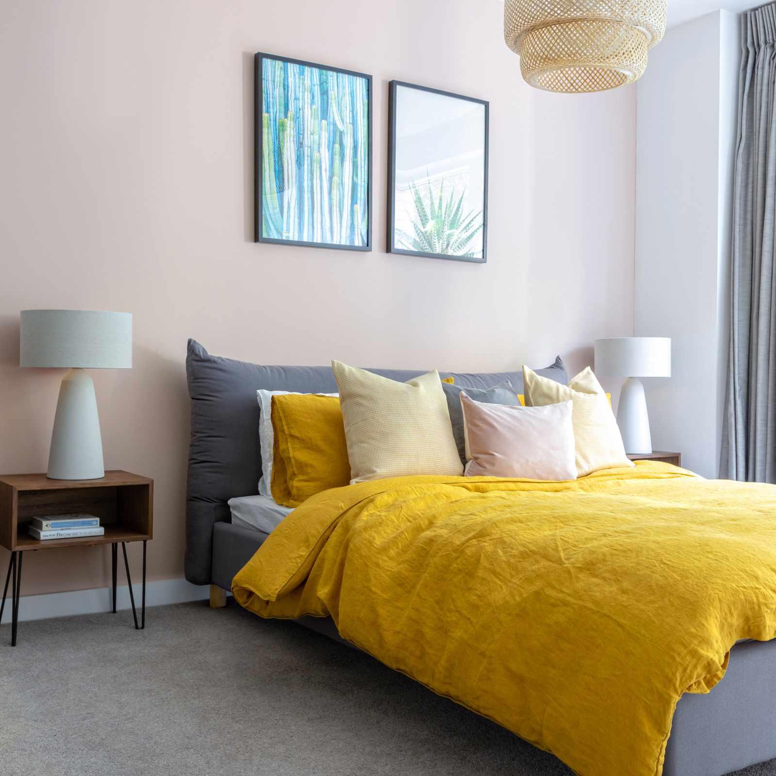 Bedroom with yellow linen duvet