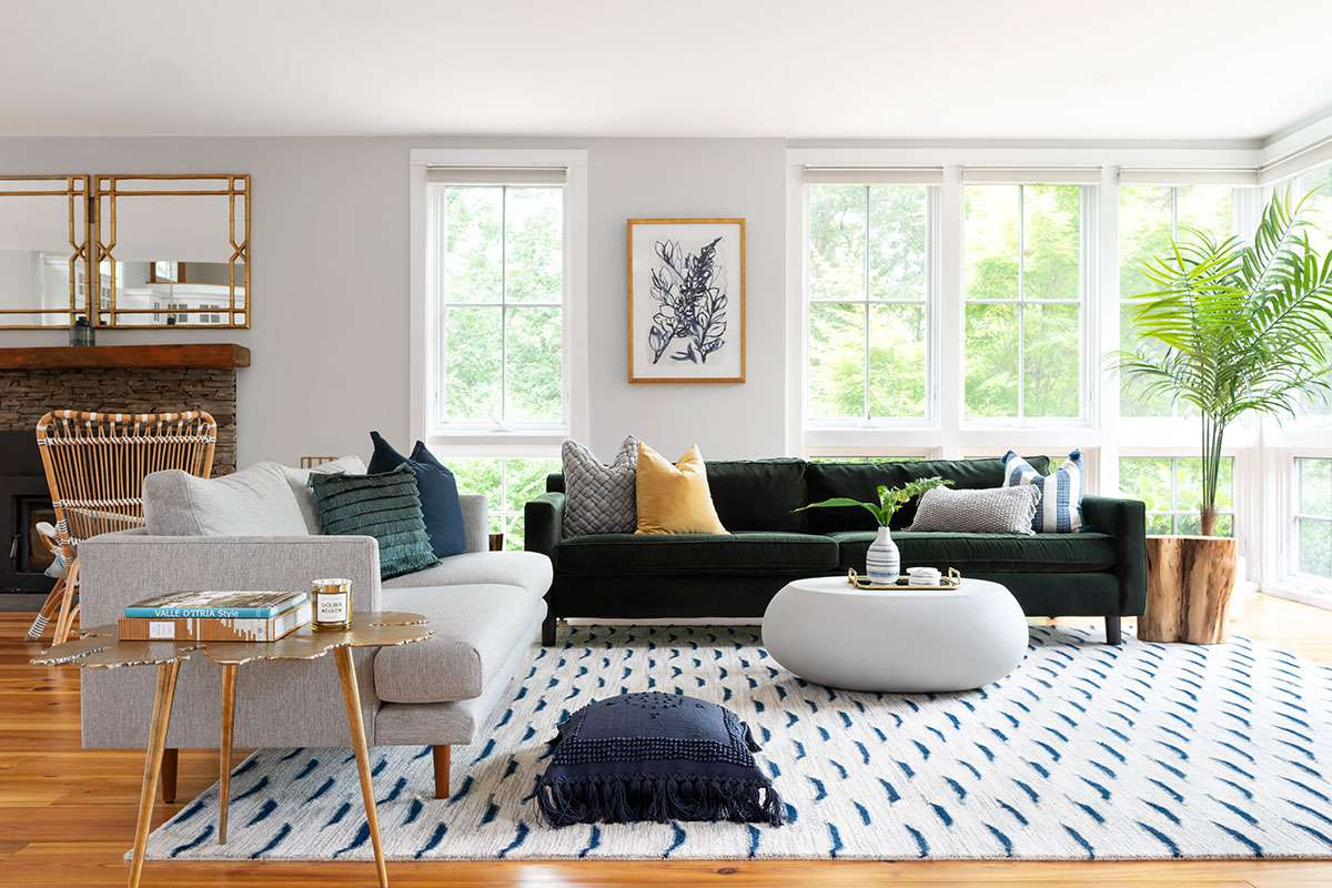 Eclectic living room with lots of throw pillows