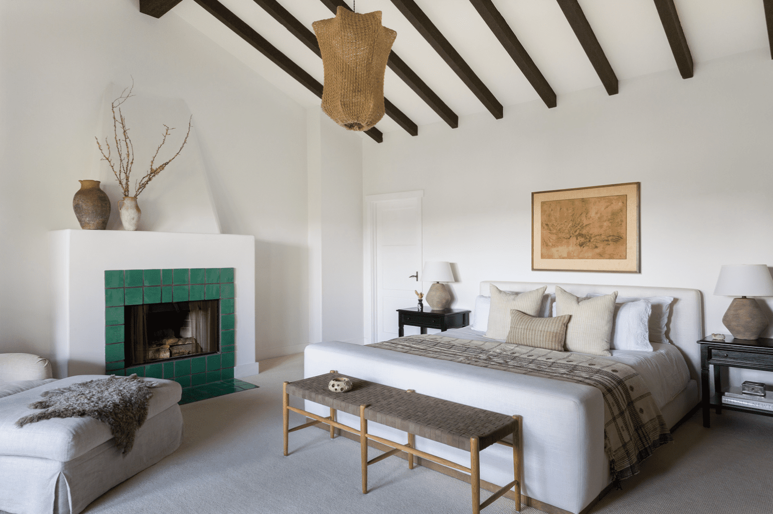 A bedroom with rustic accents