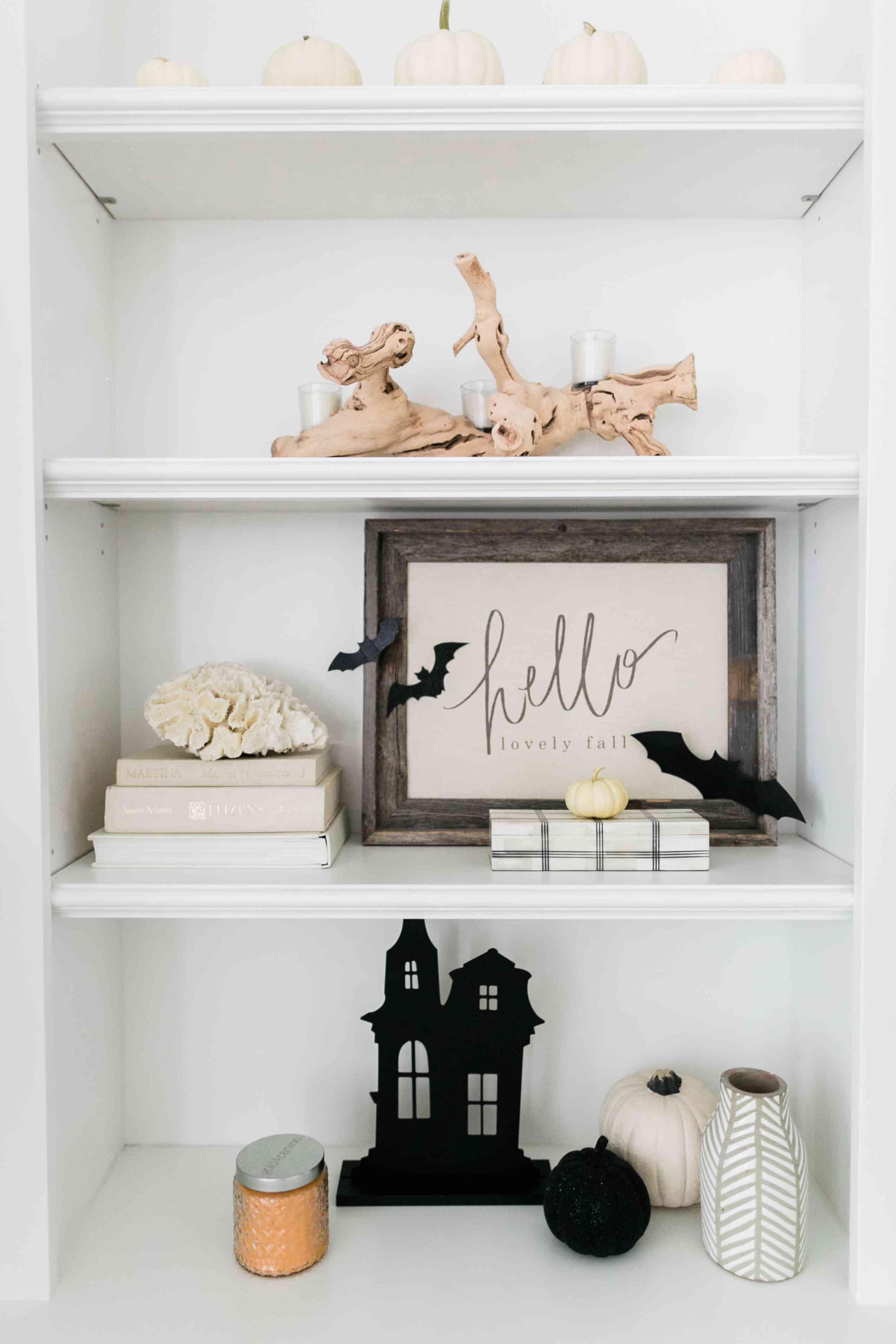 Halloween decor on bookshelf